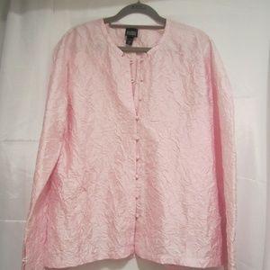 Eileen Fisher XL Pink Silk Asian Crinkle Jacket